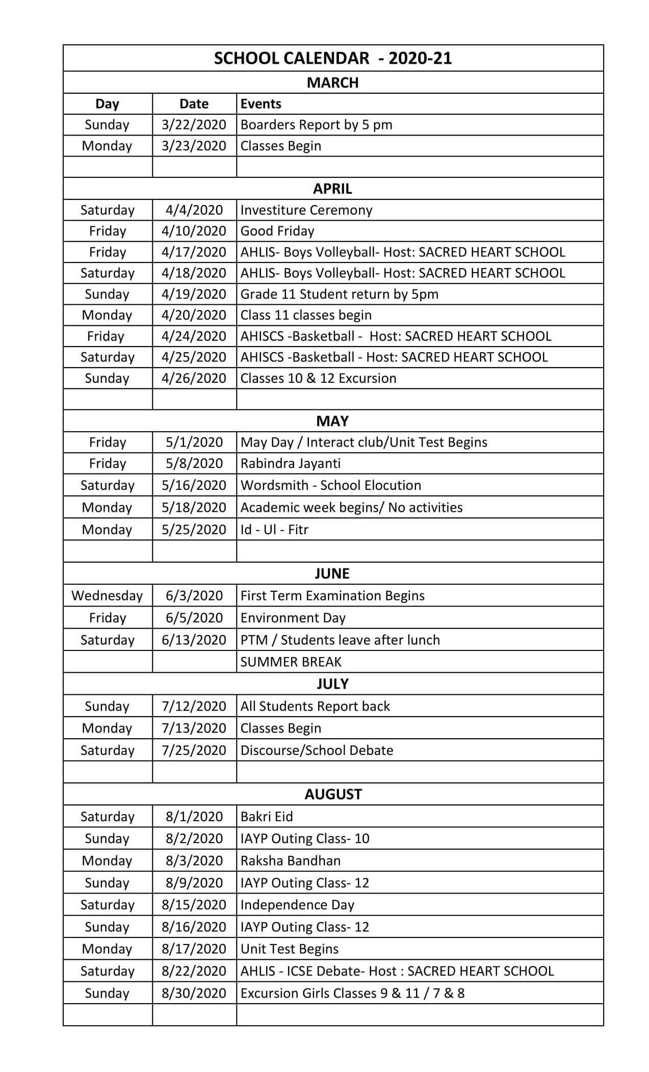 Calendar 2021 Sacred Heart Academic Calendar 2021